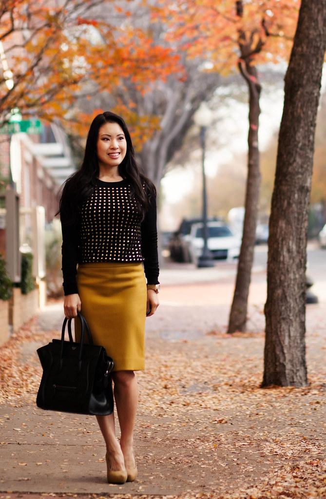 Studded Sweater + Pencil Skirt - cute   little  a70c1af0e028e