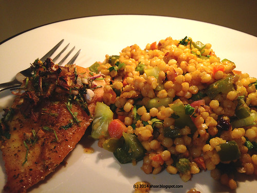 Israeli couscous with caramelized onions & veggies
