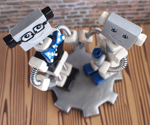 Commission: Robot Wedding Cake Topper Blue and Geeky by HerArtSheLoves