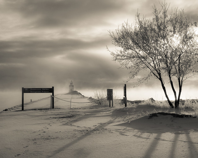 Winter, Kewaunee, Cold, Monochrome, B&W, Shadows, Tree, Lighthouse, Moody