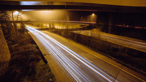 traffic longexposure issaquah interstate90 headlights road highway canon overpass pacificnorthwest pnw foggy fog taillights canoneos5dmarkiii samyang14mmf28ifedmcaspherical washington johnwestrock