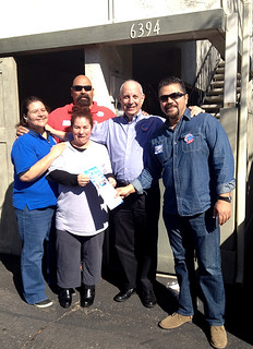 On a labor walk to support David Alvarez for San Diego mayor, the CWA crew talks with CWA Local 9509 member Gloria Tangarife. From left: CWA D9 Vice President Laura Reynolds, Tangarife, Local 9509 President Bourunda and Political Director Sal Espinosa and CWA Pres. Larry Cohen.