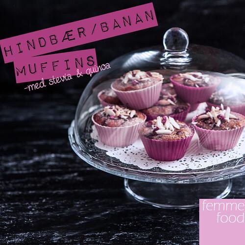 Hindbær/banan muffins med stevia og quinoa
