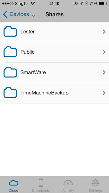 WD My Cloud iOS App - Shares