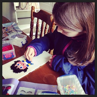 Very lovely afternoon with Josie and the #hamabeads today.