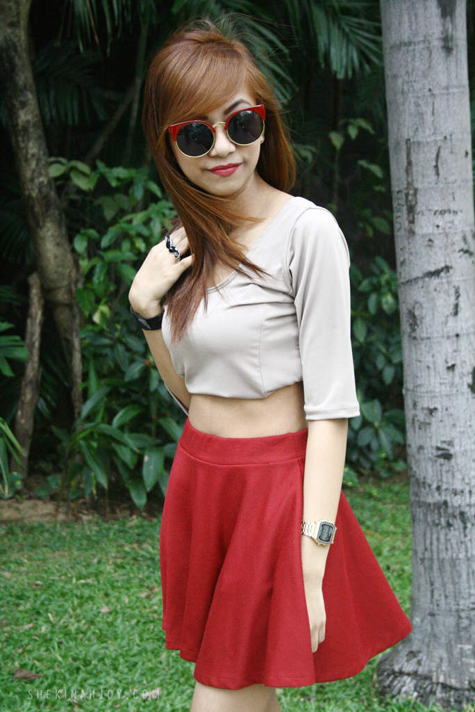 Twenteen - Sunnies by Charlie - OOTD - Red Skater Skirt - shekinahjoy.com