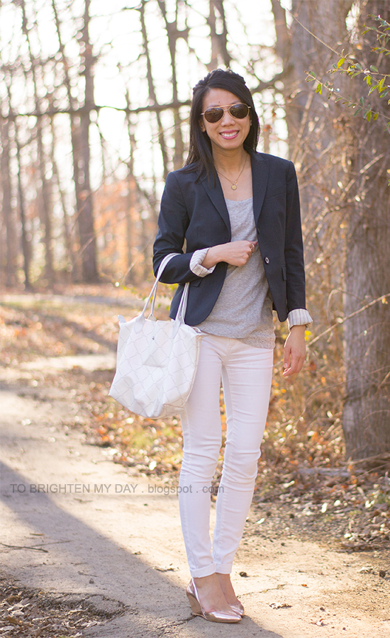 navy blazer, gray tee, white jeans, rose gold metallic wedges