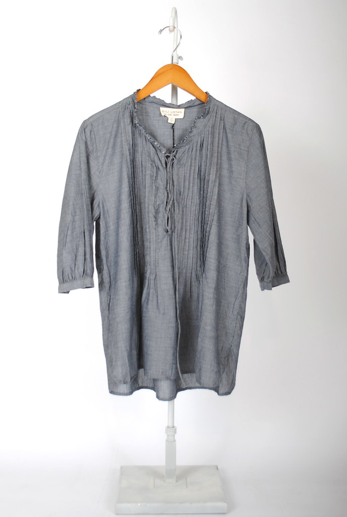 Laced Chambray Top