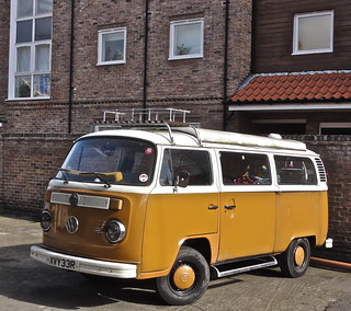 Retro coloured vw camper van