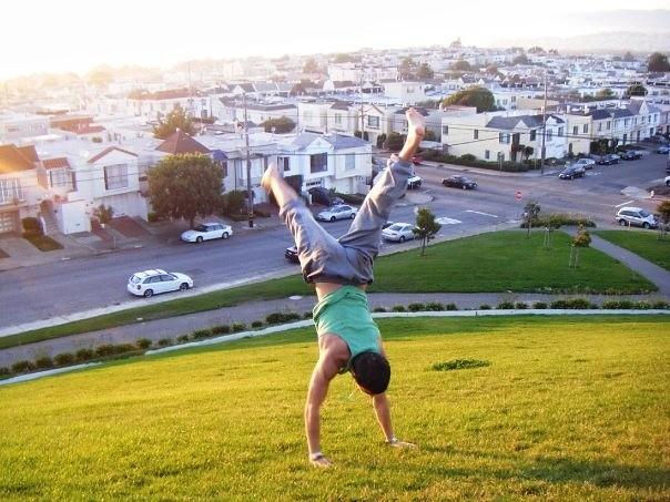 Acrobatics on a hill