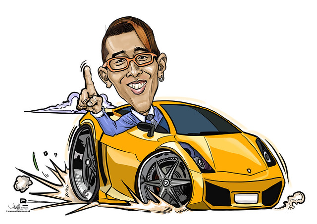 digital sports car caricature for Dow Chemical Pacific