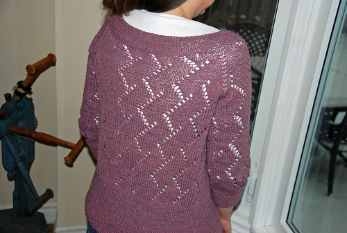 Rear view irieknit Something Silver cardigan in Silky Wool overdyed logwood