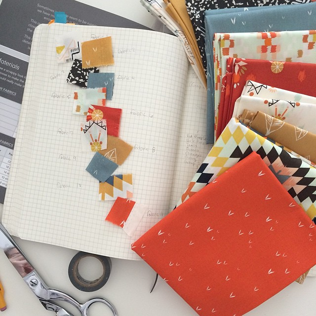 My new favorite is taking snips of fabric and taping them into my sketchbook. It's pretty and makes it easier to keep a pattern straight! I get confused... ?