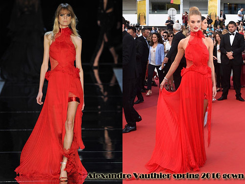 Rosie Huntington-Whiteley in a red Alexandre Vauthier spring 2016 dress