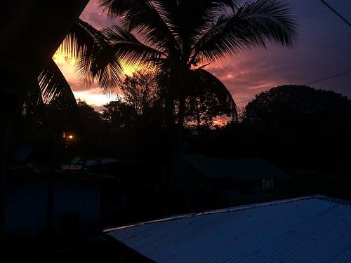 Tortuguero: coucher de soleil depuis notre balcon