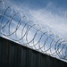 blue skies through barb wire