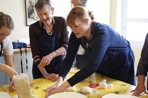 Sarah & Pat making bread