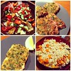 Fattoush, herb-crusted lamb and salmon, pearl couscous #MiddleEasternFeast #hoppeduponmeds