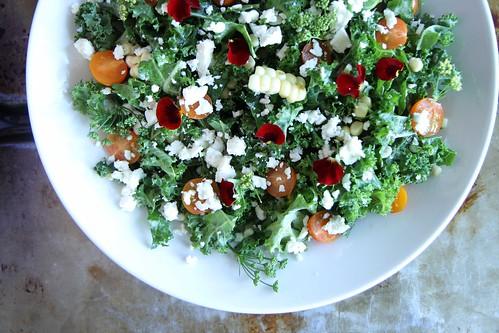 Kale Salad with Charred Corn and Feta