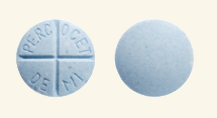 oxycodone 325mg acetaminophen blue round percocet demi quadrisected