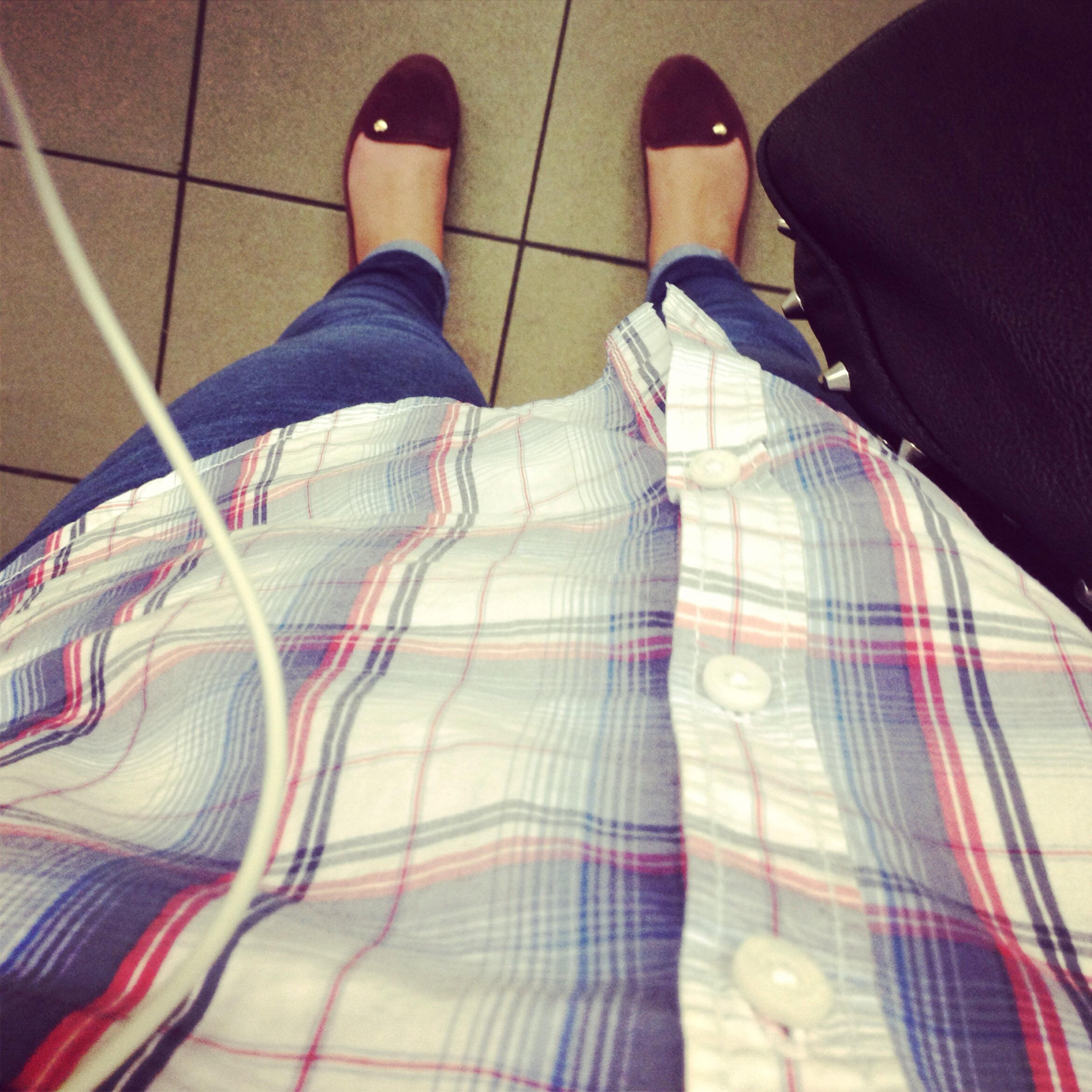 Check Shirt, Topshop Jame Jeans, Red Slipper Shoes