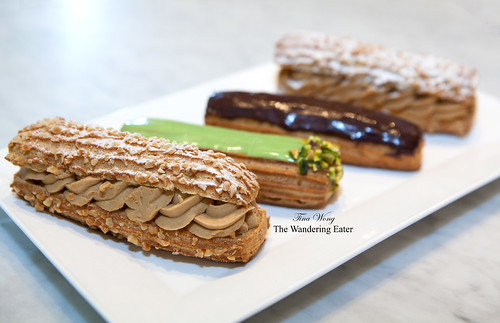 Coffee, Pistachio, and Chocolate éclairs