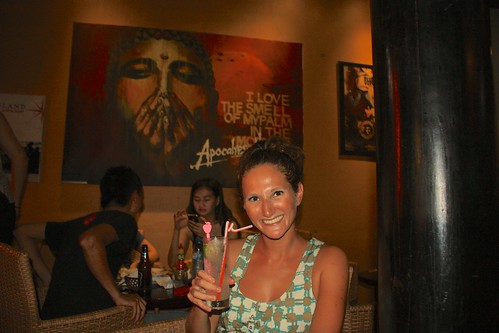 Lina enjoying her free cocktail at Before and Now