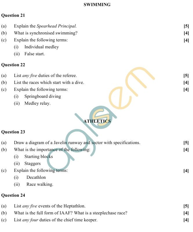 ISC Class 12 Physical Education Sample Paper