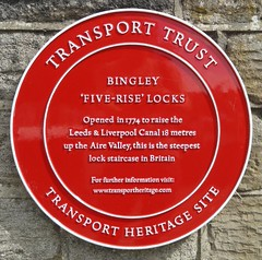 Photo of Five-Rise Locks, Bingley red plaque