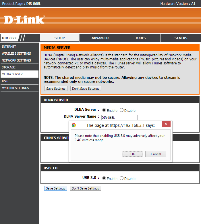 D-Link DIR-868L - USB 3.0 Warning