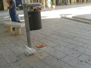 via roma tra carcasse di piccioni e rifiuti