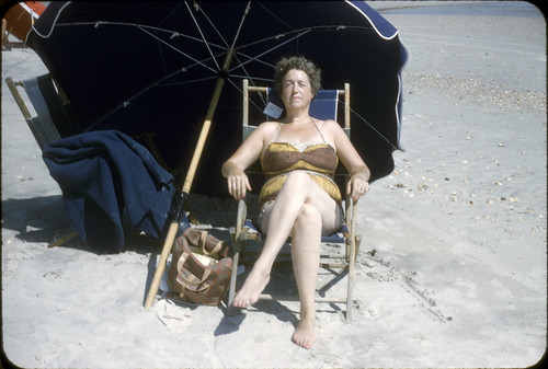 Tanning on Myrtle Beach, South Carolina, 1958