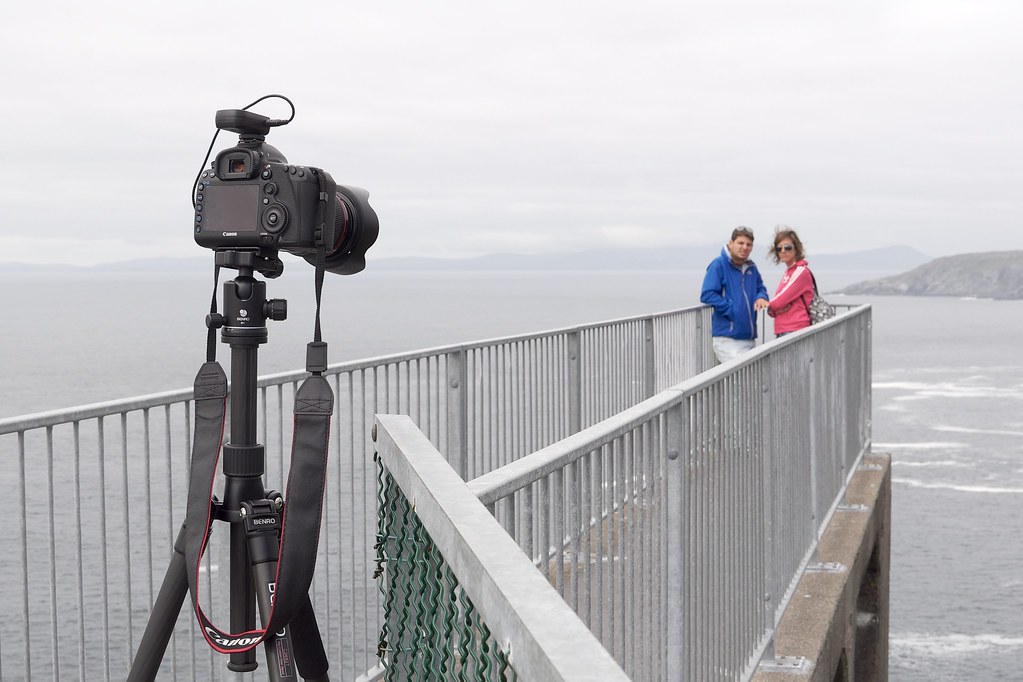 Tripod remote controlled selfies, Mizen Head