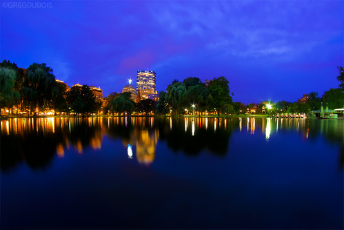 Boston Public Garden Pond and Back Bay Skyline during the Blue Hour by Greg DuBois Photography