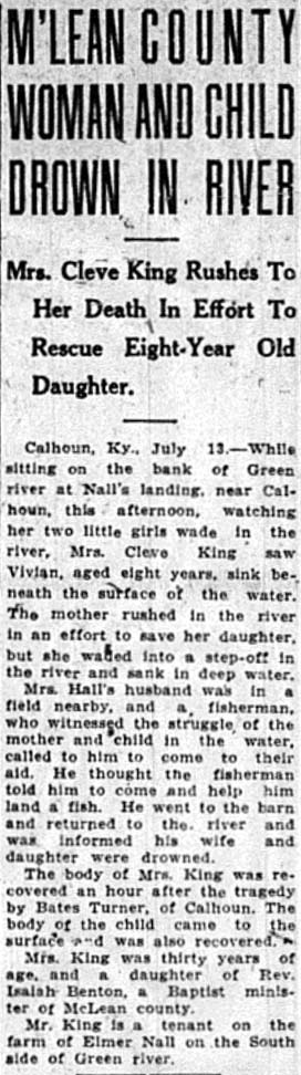 King Drowning, Just 14, 1923, Owensboro Messener, Front Page