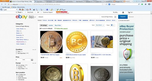 eBay bitcoin sales virtual currency