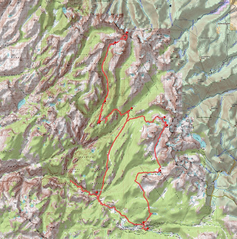 Hike Overview Topographic Map: Tuolumne Meadows to Matterhorn Peak