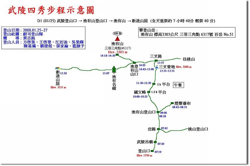 武陵四秀步程示意圖(1)