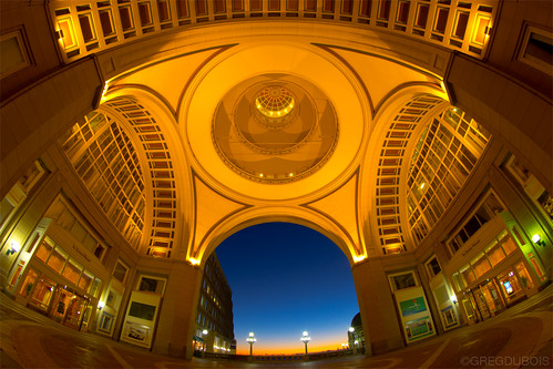 Entrance and Celling of the Boston Harbor Hotel at Rowes Wharf, Dawn from Boston Waterfront by Greg DuBois Photography
