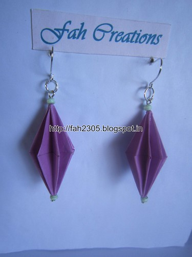 Handmade Jewelry - Origami Paper Diamond Earrings (Purple) (1) by fah2305