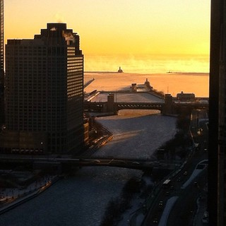 Came into the office at 7:30 am and the lake was giving off fog. Beautiful.