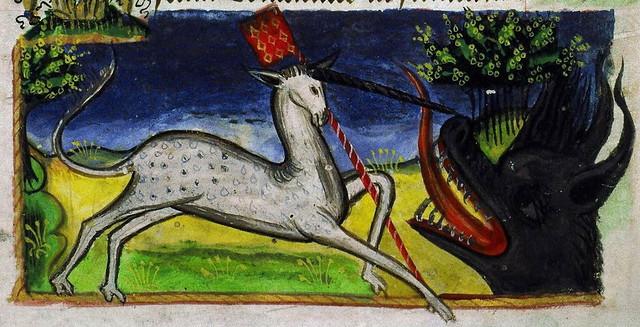Livre d'heures de Jean de Montauban - Licorne combattant un dragon