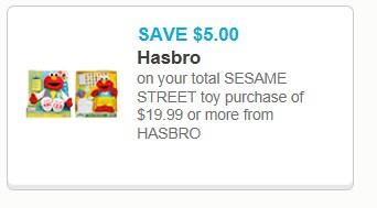 graphic regarding Hasbro Printable Coupon titled $5/$20 Sesame Highway Hasbro Toy Buy Printable Coupon