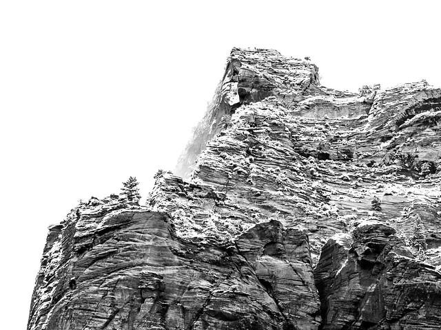 fresh snow on Zion rock