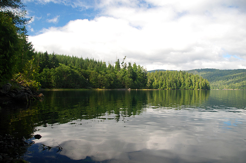 Quieter Southern end of Nitinat Lake, Vancouver Island, British Columbia, Canada
