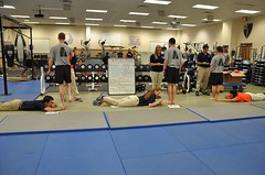 Athletic trainers screen soldier trainees at Ft. Benning for a research project on ankle sprains.