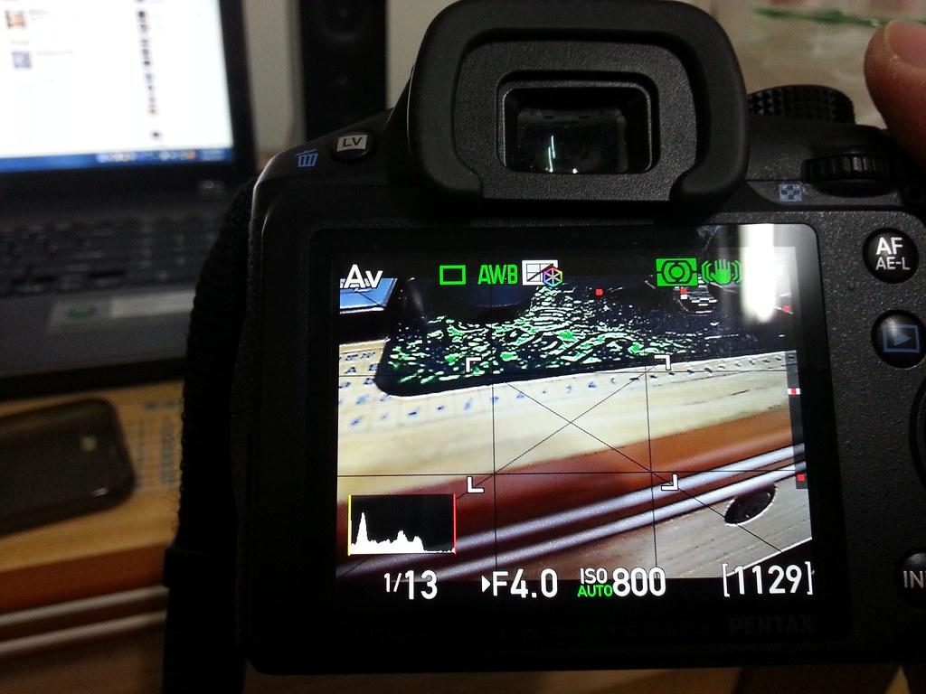 K30使用live view 取景時發生畫面昏暗