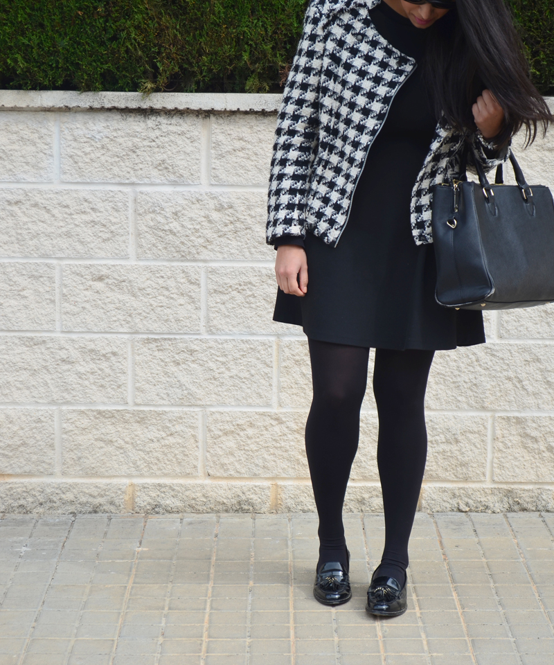 florenciablog tweedjacket estampado pata de gallo little black dress LBD mocasines zara (11)