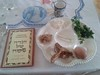 Traditional Passover plate with special foods.