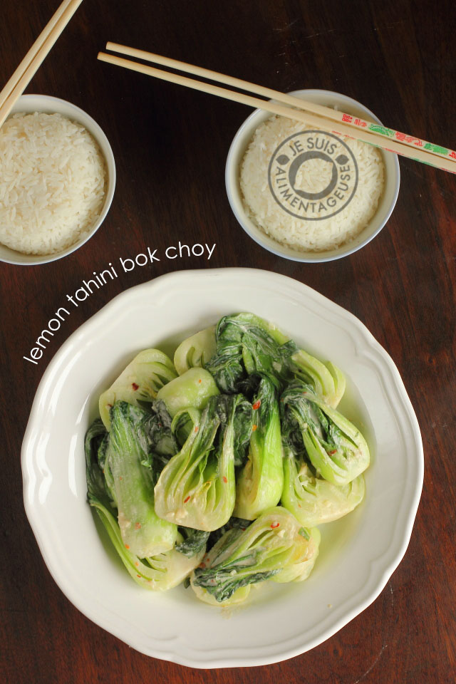 Middle-Eastern flavours meet one of my favourite asian greens to make a creamy lemon tahini bok choy dish
